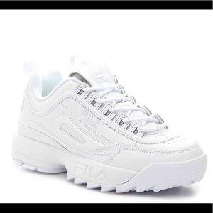 Barley worn white FILA sneakers